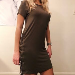 NWOT Lulu's Olive Green Shirt Dress